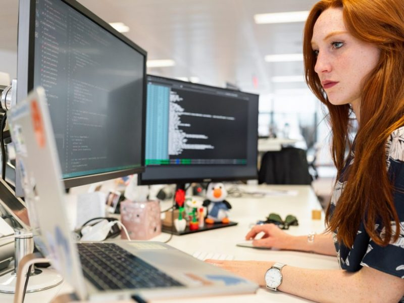 woman coding software